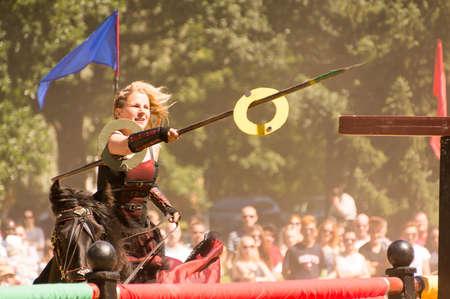 Wadkoping Orebro Sweden Juli 2016 mediaval fair with market and nights reenactment riding horses