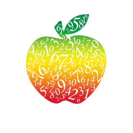 multiplicar: Muchas figuras en forma de una manzana El fondo blanco aislado
