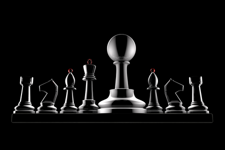 black giant: Chess pieces on a black background