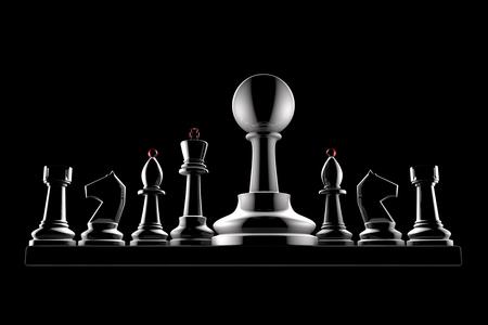 arrogancia: Piezas de ajedrez sobre un fondo negro Foto de archivo