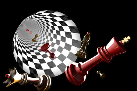 Chess pieces on a black background  3D-image
