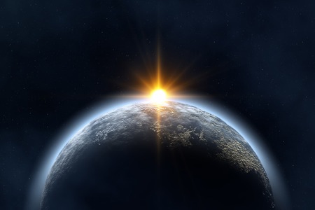 erde: Platzlandschaft Erde und Sonne Bild in Photoshop erstellt