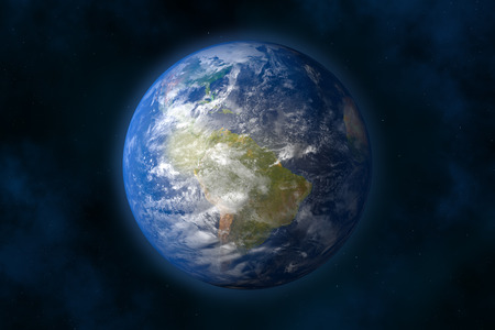 Planet earth in space  Stars and Nebula  3d image
