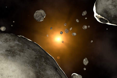 meteorites: Meteor rain in outer space  Sun and stars   Stock Photo