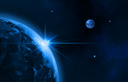 Space landscape  earth, sun, moon   Sunrise  3D image   Stock Photo