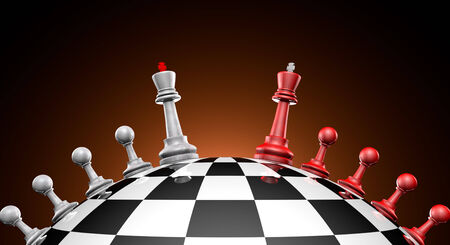 ideas risk: Chess red and gray on the chess field  symbol-political dialogue
