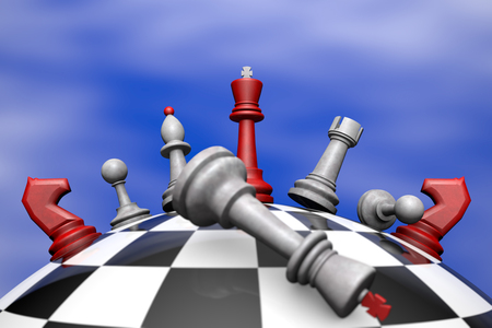 defeat: Symbolic frame  political upheaval   Chess on the chess globe  3D image