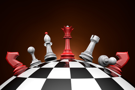 upheaval: Symbolic frame  political upheaval   Chess pieces on a chess field