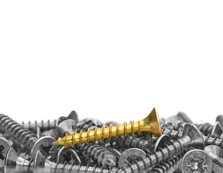 Many black-and-white screws  and one color screw  on a white background  photo