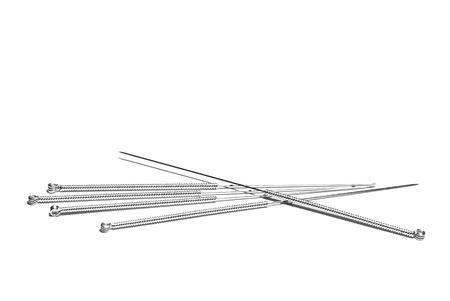 分離の白い背景の上の鍼治療の針
