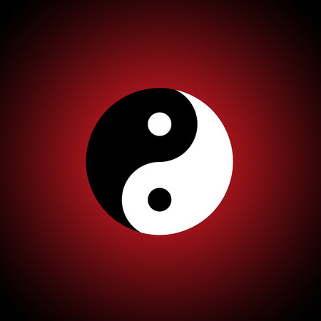 interdependence: The Chinese symbol  yin-yang   A dark red background