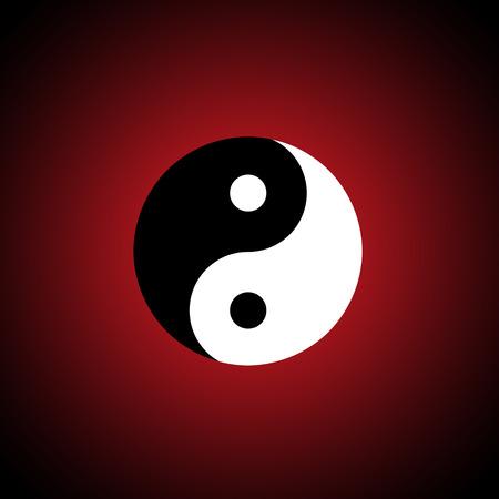 harmonious: The Chinese symbol  yin-yang   A dark red background