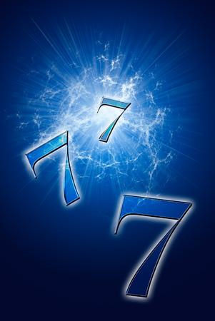 numerology: Three seven on a beautiful art background