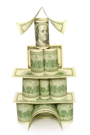 Palace from money to a white background  It is a lot of dollars  photo