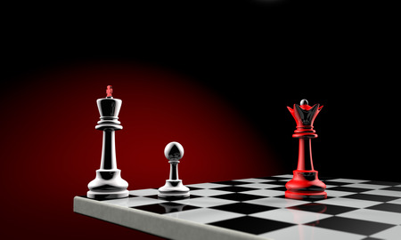 ultimatum: Three chess pieces  the white king, white pawn and red queen   Temy artistic background  Stock Photo