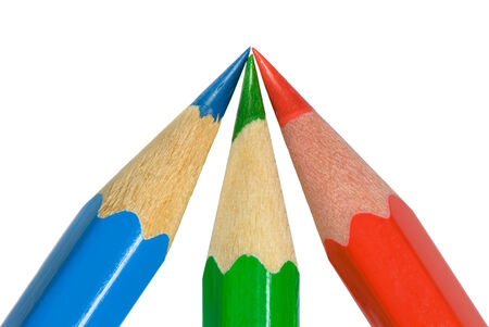 Three sharp color pencils  on a white background   photo