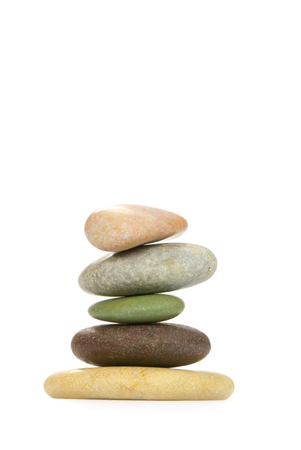 Color sea stones  the different form  on a white background  photo