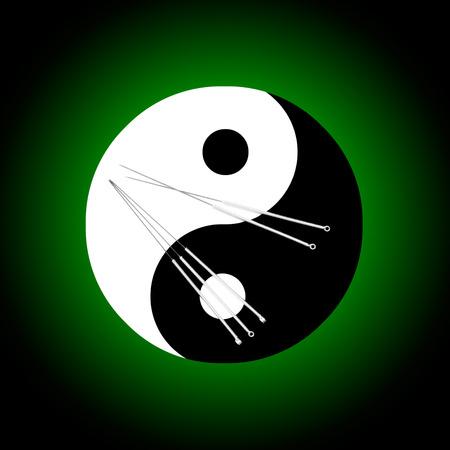 acupuntura china: Las agujas de acupuntura y un fondo simbólico del yin-yang Foto de archivo