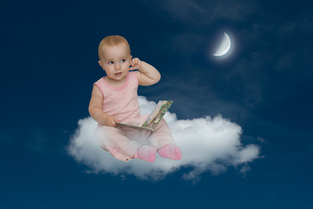 esoterics: The moon helps to study  the moon grows - grow knowledge   Stock Photo