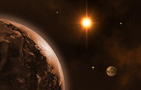 Space landscape (earth, sun, moon). Sunrise. 3D image. Banque d'images