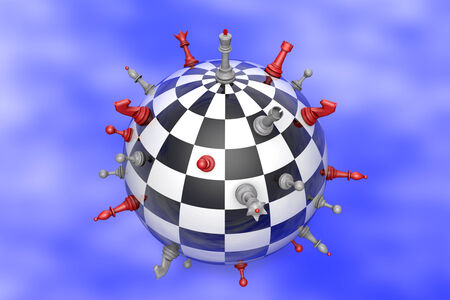 Symbolic image (peaceful planet of chess and chess). Stock Photo