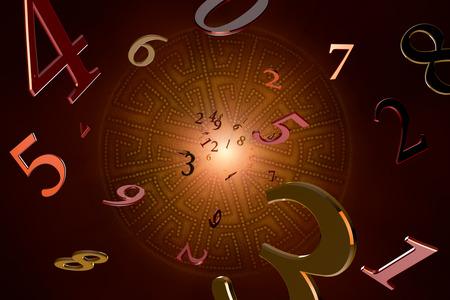 moudrost: Mnoho čísel na krásné umění pozadí. Reklamní fotografie