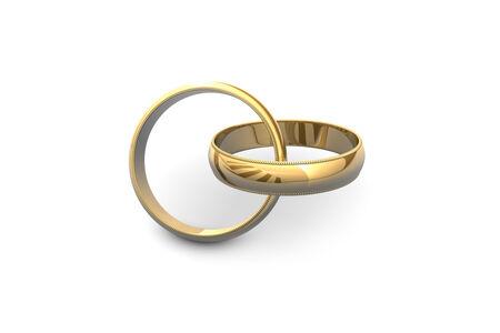 Gold wedding rings isolated on white background.