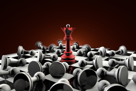 The dramatic art of chess composition. Queen (red) and gray pawn. Artistic dark background. 3D-image. Foto de archivo