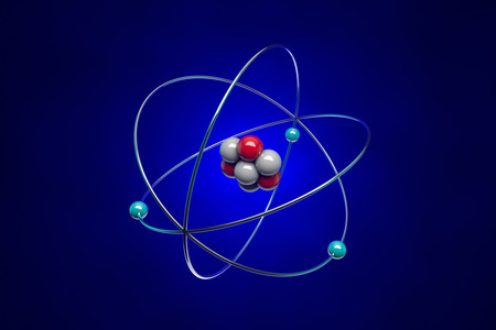 photons: The image of the atom for school textbooks.  Stock Photo