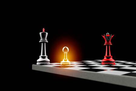 ultimatum: Pawn defends the King.It is a metaphor (political balance). Stock Photo