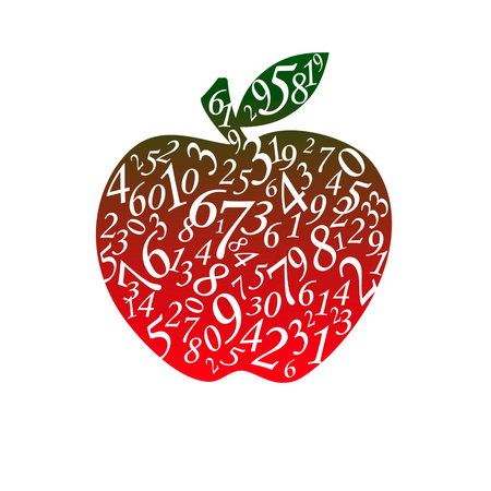 exact science: Many figures in the form of an apple. The isolated white background.
