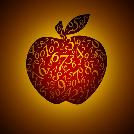 exact science: Many figures in the form of an apple. Artistic dark background.