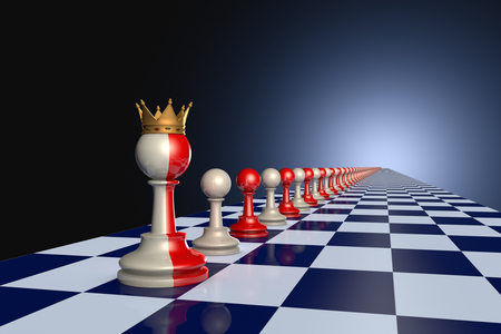 hegemony: Red and gray pawns on a chessboard. Artistic dark blue background.