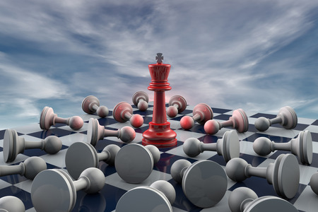 Red king and many gray pawn (fantastic background).