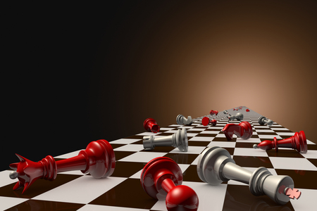 Red and gray pawn on the chessboard (lie randomly). Dark artistic background.