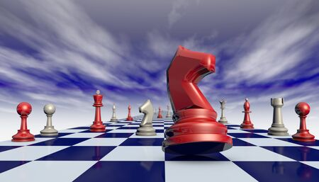 opponents: Chess pieces on a chessboard long fantastic background. Stock Photo