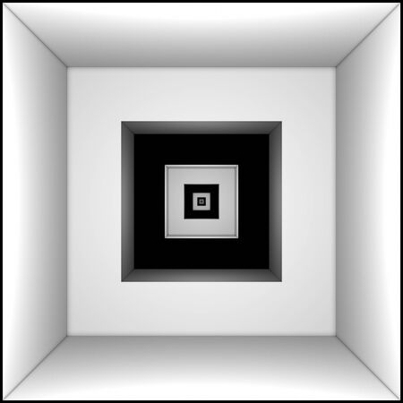 goal cage: Long black and white tunnel. Predestination (symbol and metaphor). Stock Photo