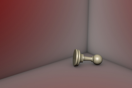 claustrophobic: Grey pawn in the red corner. 3d image.