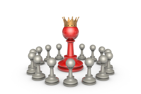 hegemony: Chess pieces on a white background. In the center of a large red pawn (with a golden crown). Its a metaphor - the parliamentary elections and the political elite. Stock Photo