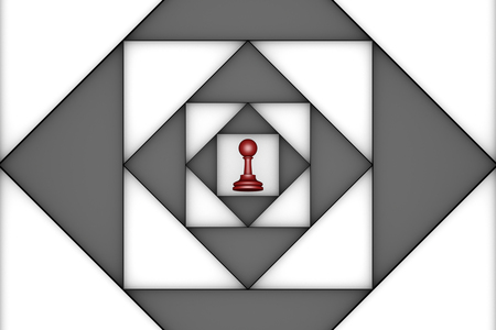 claustrophobic: Red pawn in the center of an abstract background. 3d image.