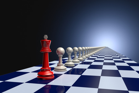 hegemony: Red king and pawn on a long gray chessboard. Dark artistic background. Stock Photo