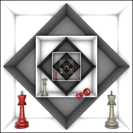 claustrophobic: Red and gray chess pieces in black and white tunnels.3d image.