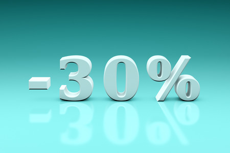 favourable: Holiday discounts for the goods and services. The 3d image 3000x4500px. Stock Photo