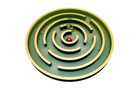라운드 터키석 미로의 가운데 빨간 공. 3d 이미지 (격리 된 흰색 배경)입니다.