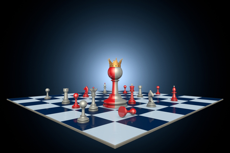 hegemony: Successful political career (chess metaphor). 3D illustration