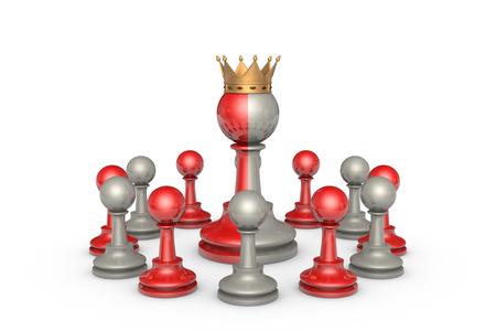 obedecer: Teatro de ajedrez sobre un fondo blanco isolation.In el centro de un rey de dos caras.