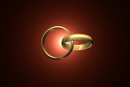 vows: Two wedding ring on a dark art background. 3D-image.