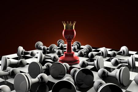 arrogancia: El arte dramático de la composición de ajedrez. reina peón rojo en el centro de la composición. Muchos peones obedientes grises. Artística fondo oscuro. 3D-imagen. Foto de archivo