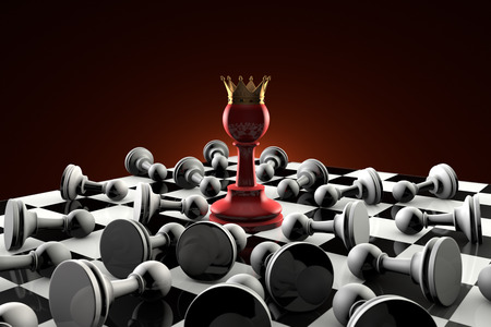The dramatic art of chess composition. Red pawn queen in the center of the composition. Many gray obedient pawns. Artistic dark background. 3D-image.