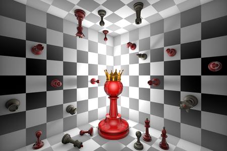 大きな赤いポーンと黄金の冠。閉じたチェス スペース。多くの小さなチェス。